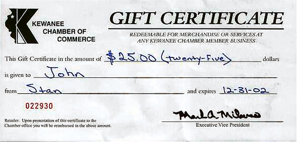 Example Gift Certificate  Gift Certificate Samples